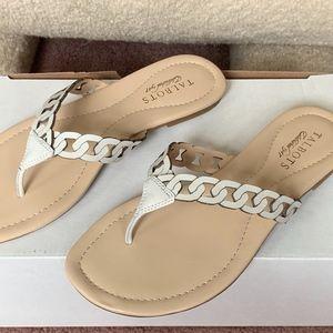 *NEW* Talbots Carisa Bone Leather Sandals Flats Fl